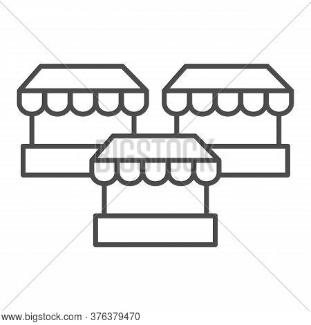 Stalls Thin Line Icon, Market Concept, Three Street Shops Sign On White Background, Bazaar Stands Ic