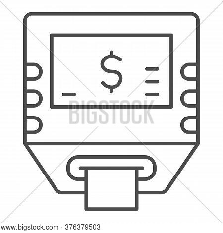 Self-service Terminal Thin Line Icon, Shopping Concept, Bank Terminal Sign On White Background, Atm