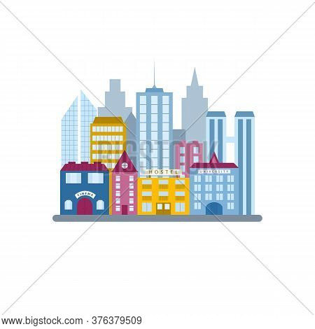 City Buildings Set, In Flat Vector Style. Municipal Buildings And Architecture In The Urban Business