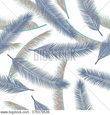 Tropical Feather Fluff Vector Pattern. Pretty Fabric Print. Tribal Boho Feather Fluff Fashion Print