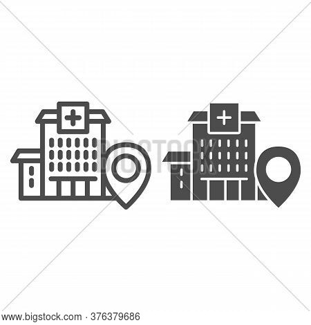 Hospital Building With Location Marker Line And Solid Icon, Navigation Concept, Clinic Pointer Sign