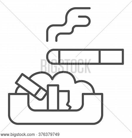 Cigarette In Ashtray Thin Line Icon, Smoking Concept, Ash Tray Sign On White Background, Smoky Cigar