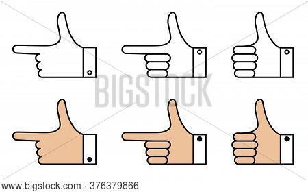 Set Of Hand Gestures With Bent And Pointing Fingers. Icons In Linear Style. Gesticulation. Vector On