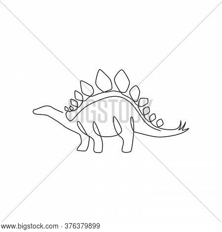 Single Continuous Line Drawing Of Thorny Tail Stegosaurus For Logo Identity. Prehistoric Animal Masc