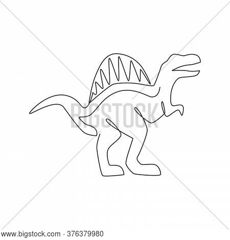 One Single Line Drawing Of Wild Spinosaurus For Logo Identity. Dino Animal Mascot Concept For Prehis