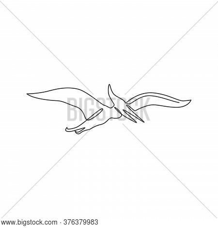One Single Line Drawing Of Flying Pterodactyl For Logo Identity. Dino Animal Mascot Concept For Preh
