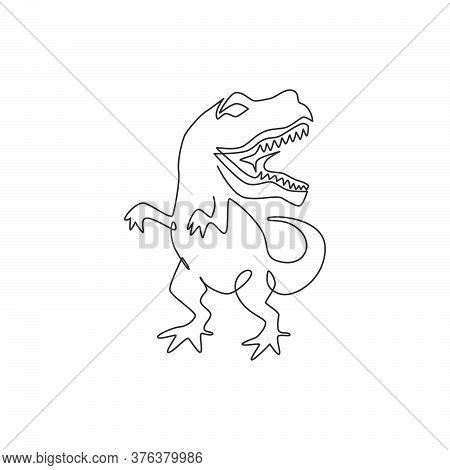 One Single Line Drawing Of Wild And Aggressive T-rex For Logo Identity. Dino Animal Mascot Concept F