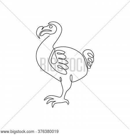 One Single Line Drawing Of Adorable Fun Dodo Bird For Logo Identity. Extinct Animal Mascot Concept F