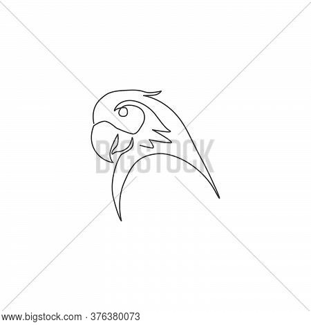 One Continuous Line Drawing Of Cute Parrot Bird Head For Logo Identity. Aves Animal Mascot Concept F