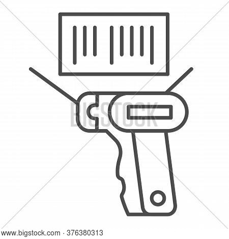 Product Scanner And Barcode Thin Line Icon, Market Concept, Bar Code With Laser Scanner Sign On Whit
