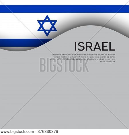 Israel Flag Background. Israel Wavy Flag On A White Background. National Poster. Business Booklet. S