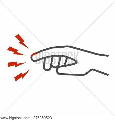 Finger Pain Thin Line Icon, Body Pain Concept, Injured Finger Sign On White Background, Acute Finger