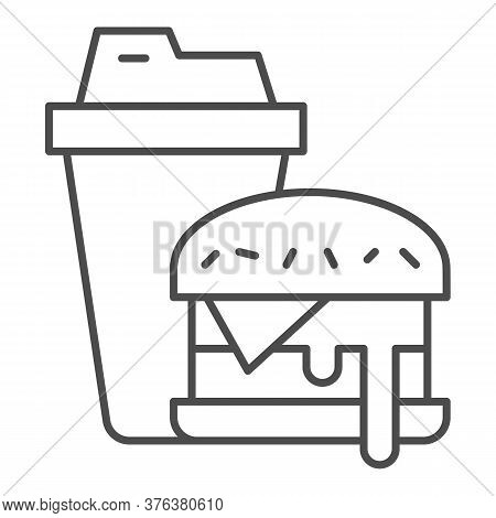 Hamburger And Glass Of Cola Thin Line Icon, Fast Food Concept, Burger With Soft Drink Sign On White