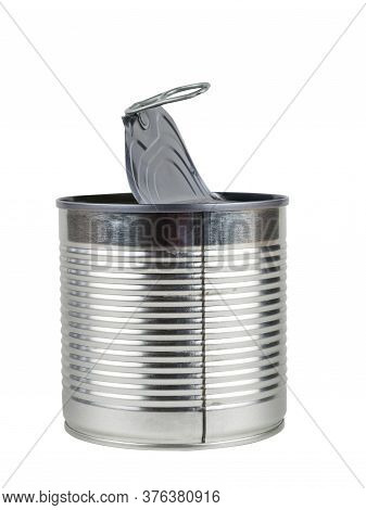 Tin Can With An Open Lid Isolated On A White Background. Universal Container For Canning.