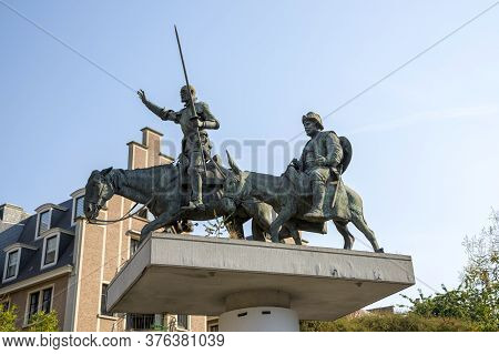 Brussels, Belgium - July 04, 2018: Monument To Don Quixote And Sancha Panza In Brussels