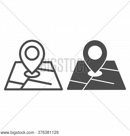 Map And Location Marker Line And Solid Icon, Cartography Concept, Geolocation Sign On Map Sign On Wh