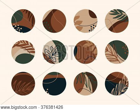 Vector Set Of Abstract Highlight Covers Backgrounds. Design Templates Icons For Social Media Stories