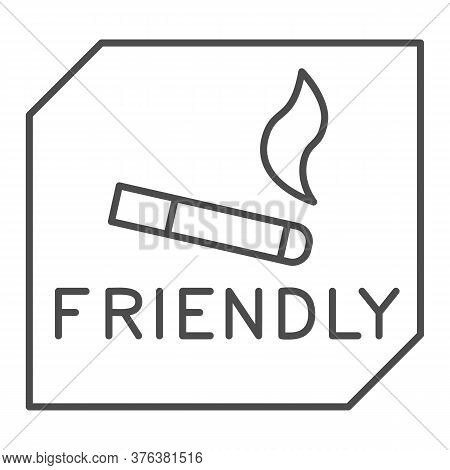 Smoking Is Allowed Thin Line Icon, Smoking Concept, Smoking Area Sign On White Background, Place For