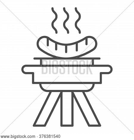 Bbq And Grilled Sausages Thin Line Icon, Picnic Concept, Barbecue With Hot Sausages Sign On White Ba