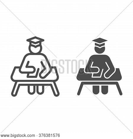 Student At Desk Line And Solid Icon, Education Concept, Man In Graduation Hat At Desk Sign On White