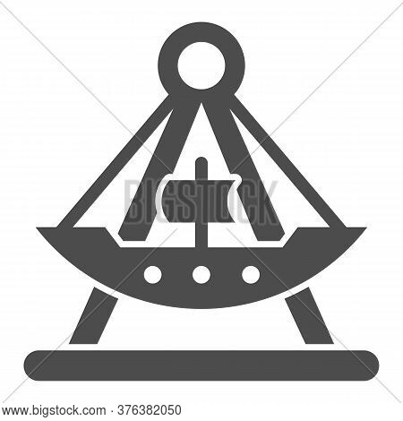 Riding Ship Attraction Solid Icon, Amusement Park Concept, Viking Boat Ride Sign On White Background