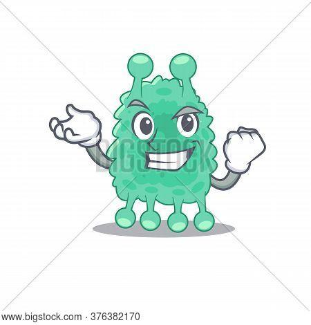 A Funny Cartoon Design Concept Of Azotobacter Vinelandii With Happy Face
