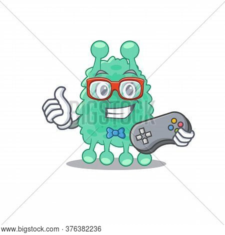 Mascot Design Style Of Azotobacter Vinelandii Gamer Playing With Controller