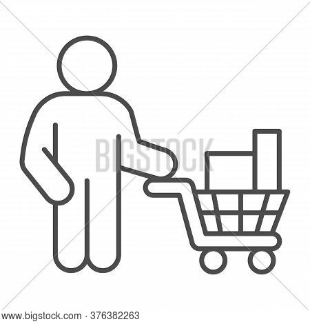 Buyer With Trolley Of Goods Thin Line Icon, Market Concept, Man Holding Shopping Cart With Purchases