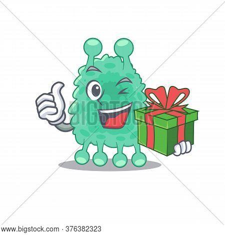 Joyful Azotobacter Vinelandii Cartoon Character With A Big Gift Box