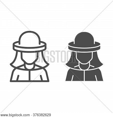 Beekeeper Line And Solid Icon, Beekeeping Concept, Beekeeper In Protection Hat Sign On White Backgro