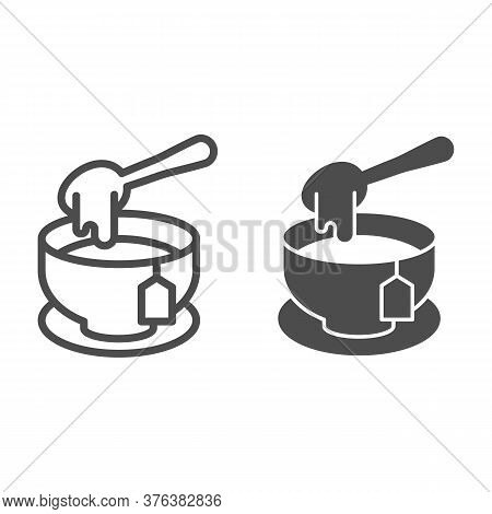 Tea With Honey Line And Solid Icon, Teatime Concept, Honey Spoon And Tea Cup Sign On White Backgroun