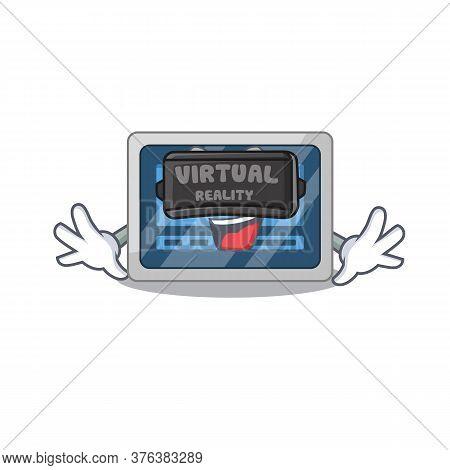 A Cartoon Image Of Digital Timer Using Modern Virtual Reality Headset