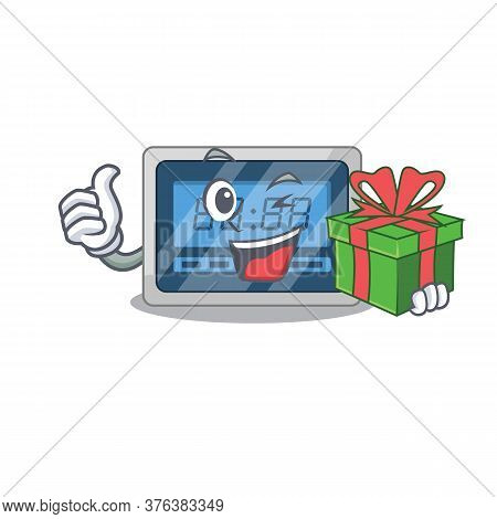 Joyful Digital Timer Cartoon Character With A Big Gift Box
