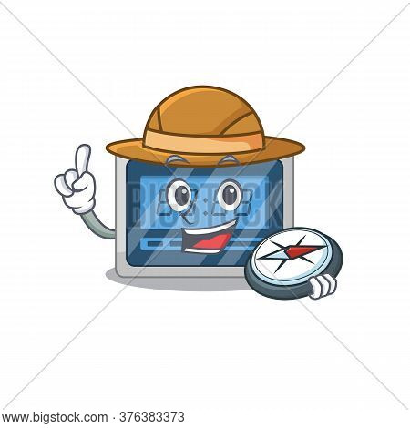 Mascot Design Concept Of Digital Timer Explorer Using A Compass In The Forest