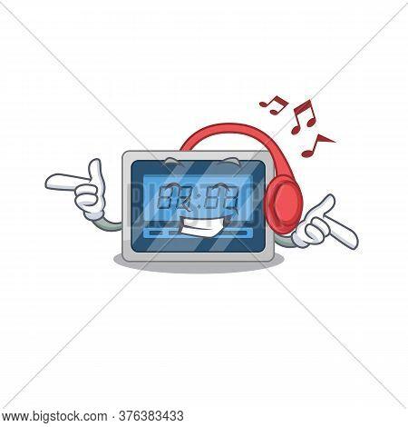 Digital Timer Cartoon Design Concept Listening Music On Headphone