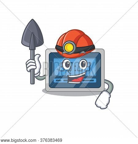 A Cartoon Picture Of Digital Timer Miner With Tool And Helmet