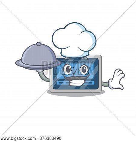 Mascot Design Of Digital Timerchef Serving Food On Tray
