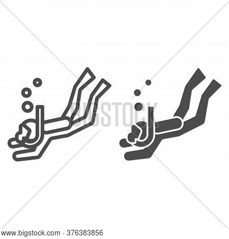 Diver Line And Solid Icon, Underwater Sport Concept, Swimming Diver In Deep Immersion Sign On White