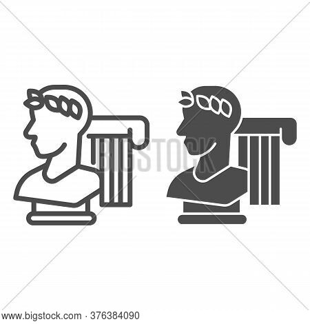 Greek Statue And Column Line And Solid Icon, Back To School Concept, Monument And Column Sign On Whi