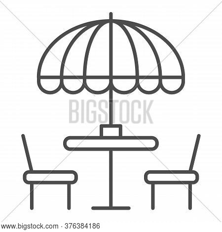 Chairs And Table With Umbrella Thin Line Icon, Street Food Concept, Outdoor Table With Umbrella Sign