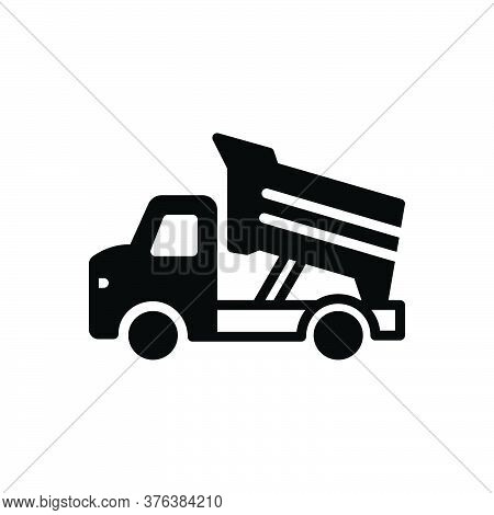Black Solid Icon For Dump-truck Construction Earth Contractor Earthmover Truck Dump Transportation