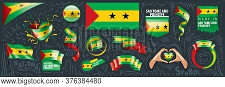 Vector Set Of The National Flag Of Sao Tome And Principe