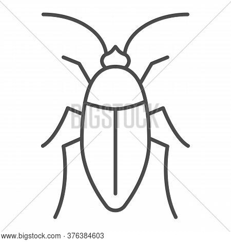 Cockroach Thin Line Icon, Pests Concept, Beetle Sign On White Background, Roach Icon In Outline Styl