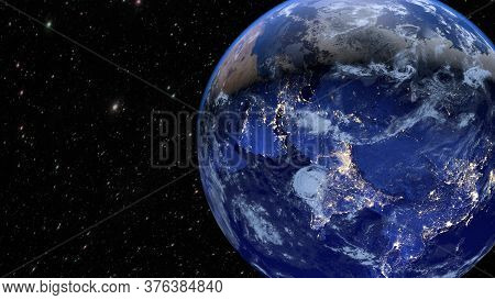 Planet Earth. The Radiance Of The Cities Of Asia, India And China. 3d Rendering