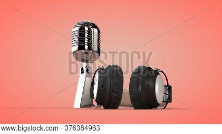 Studio Audio Headphones And Microphone. 3d Rendering