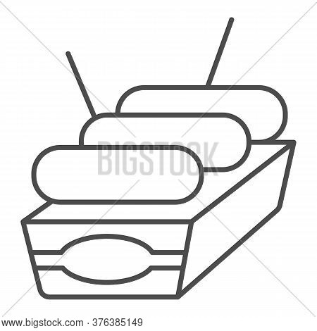 Sausages In Box Thin Line Icon, Street Food Concept, Street Junk Food Container Sign On White Backgr