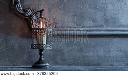 Mystical Halloween Still-life Background. Candlestick With Candles, Old Fireplace. Horror And Witche