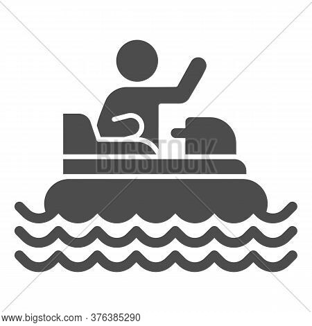 Catamaran With Person Solid Icon, Amusement Park Concept, Beach Boat With Pedals Sign On White Backg