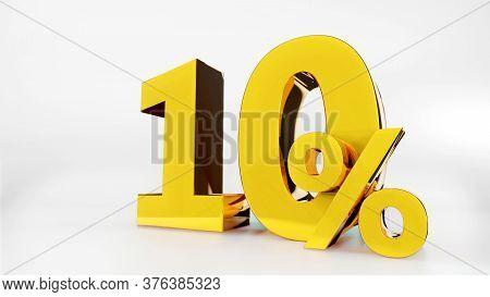 10% Golden Symbol , 3d Render Symbol  White Background