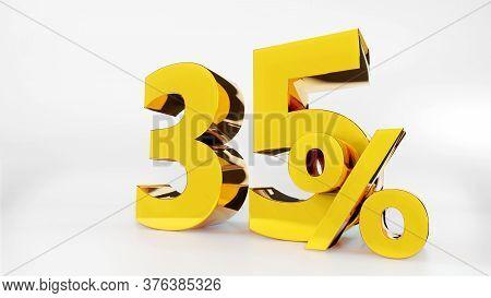 35% Golden Symbol , 3d Render Symbol  White Background